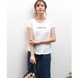 美ライン♪シンプルベーシックTシャツ (ロゴホワイトk(Vネック))