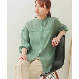 シアーバンドカラーシャツ (ライトグリーン)