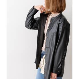 エコレザーCPOシャツジャケット (ブラック)