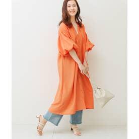 ボリューム袖2WAYギャザーワンピース (オレンジ)