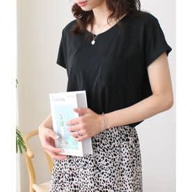 美ラインシンプルTシャツ (puブラック)