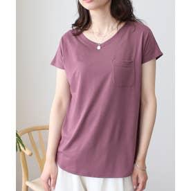 美ラインシンプルTシャツ (puパープル)