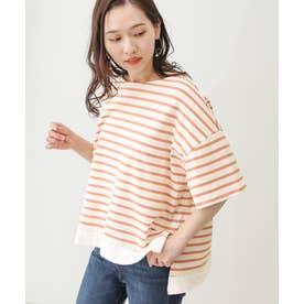 裾切替ボーダーTシャツ (オフxオレンジ)