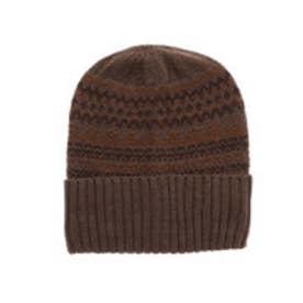 ジャガード柄ニット帽 (ブラウン)