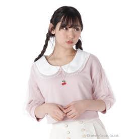 チュール袖クロップドトップス (ピンク)
