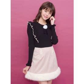 裾ファー台形スカート (ベージュ)