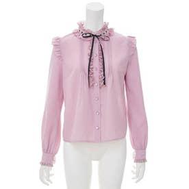 レーススタンド襟リボンブラウス (ピンク)