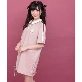 うさぎ刺繍ポロワンピース (ピンク)