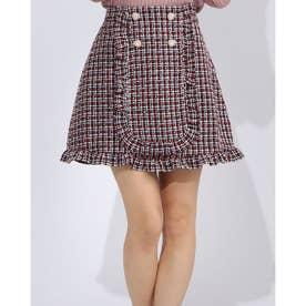 ハートボタンツイード台形スカート (レッド)