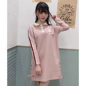 うさぎ刺繍長袖ポロワンピース (ピンク)