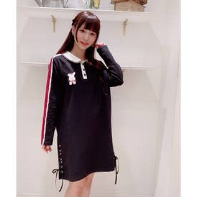 うさぎ刺繍長袖ポロワンピース (クロ)