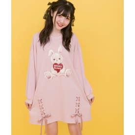 ハートウサギ裏毛ワンピース (ピンク)