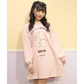 アイスうさぎプリント長袖ビッグTシャツ (ピンク)