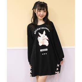 アイスうさぎプリント長袖ビッグTシャツ (クロ)