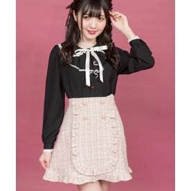 ハートボタンツイード台形スカート (ピンク)