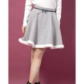 裾ファー千鳥柄サーキュラースカート (グレー)
