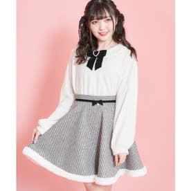 裾ファー千鳥柄サーキュラースカート (クロ)