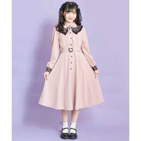 ダブル衿風バイカラーロングワンピース (ピンク)
