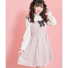 リボンブローチ付きフリルジャンパードレス (ピンク)