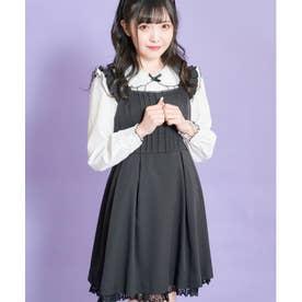 リボンブローチ付きフリルジャンパードレス (クロ)