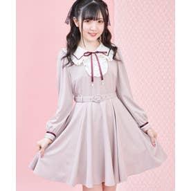 フリルイートンカラー配色ワンピース (ピンク)