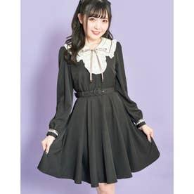 フリルイートンカラー配色ワンピース (クロ)