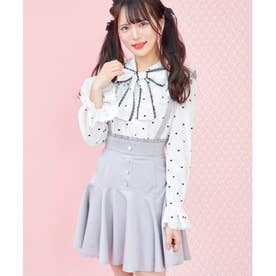 配色ステッチ裾フレアスカート (グレー)