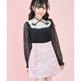 バックラッフルリボン台形スカート (ピンク)