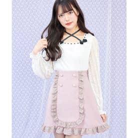 ビジューパール釦台形スカート (ピンク)