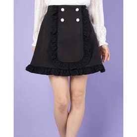 ビジューパール釦台形スカート (クロ)