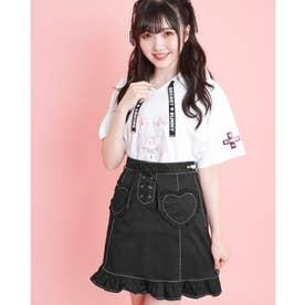 ハートポケットフリル台形スカート (クロ)