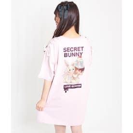 アイスウサギバックプリントTシャツ (ピンク)