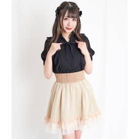 裾チュールコルセット風スカート (ベージュ)