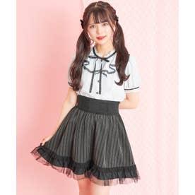 裾チュールコルセット風スカート (クロ)