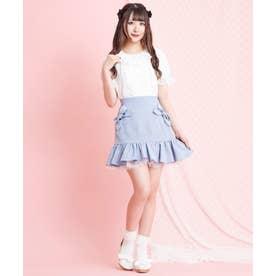 ポケットリボン裾フリルスカート (ブルー)