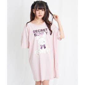 アイパッチウサギレースアップビックTシャツ (ピンク)