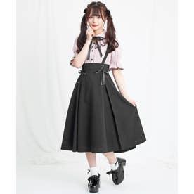 ミディ丈マチ付スカート (ブラック)