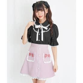 フリルポケット配色台形スカート (ピンク)