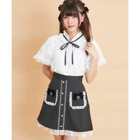 フリルポケット配色台形スカート (クロ)