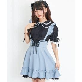 レース配色裾フリルスカート (ブルー)