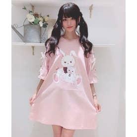 バブくまうさぎビッグTシャツ (ピンク)