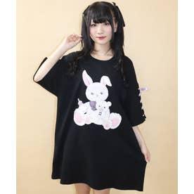 バブくまうさぎビッグTシャツ (クロ)