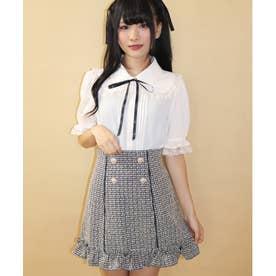 ハートボタンツイード台形スカート (ベージュ)