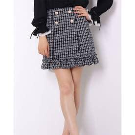 ハートボタンツイード台形スカート (クロ)