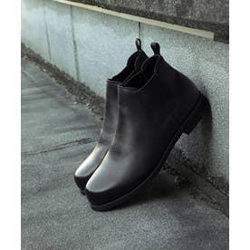 牛革カウレザーサイドゴアショートブーツ (ブラック)