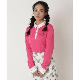 襟付き長袖ベーシックポロ (ピンク)