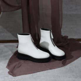 ボリュームソールフロントジップブーツ (ホワイト)