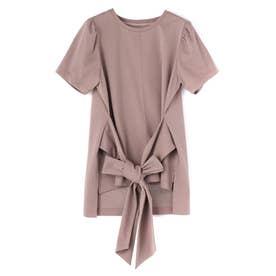 リボンTシャツ (グレージュ)