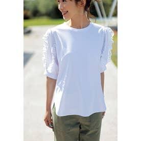 レースフリルスリーブTシャツ (ホワイト)