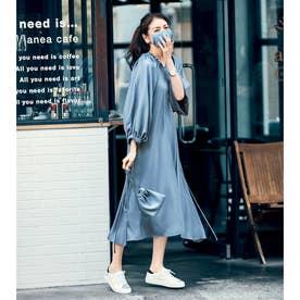 巾着ポシェット&マスク付きワンピース3点セット 【返品不可商品】(ブルー)